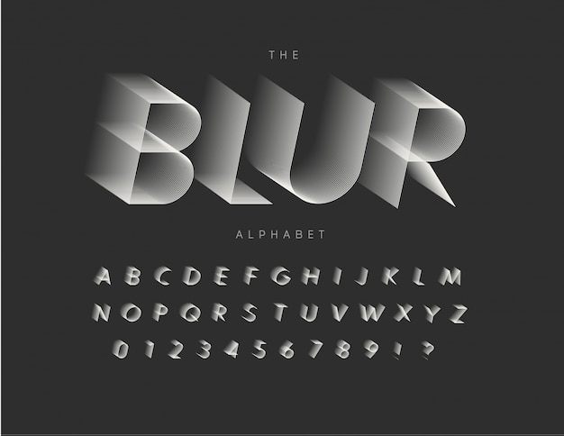 文字、数字、標識をぼかし線を設定します。タイポグラフィデザイン。