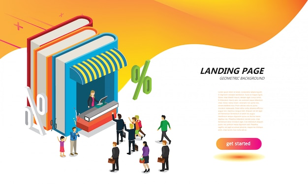 On line book store for landing page layout design template