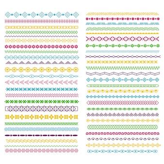 線の境界線。線、円、正方形のカラーパターン仕切り。テキスト装飾用の水平波状フレーム、活版印刷のベクトルリボン。分割フレームは、色のグランジイラストに下線を引く