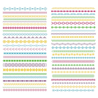 Line borders. color pattern dividers with lines, circles and squares. horizontal wavy frame for text decoration, typographic vector ribbons. dividing frame underline colored grunge illustration