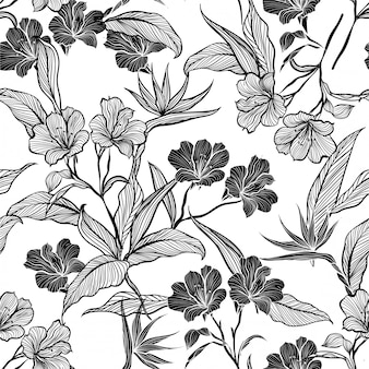 Line botanic flowers and plants in the garden  seamless pattern  vector illustration.