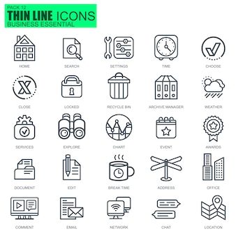 Line business essential icons