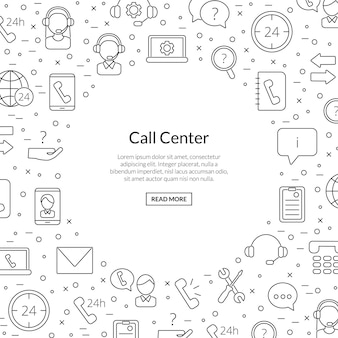 Line call support center icons with place for text illustration