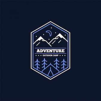라인 캠프 배지. 등산 및 숲 캠프 상징.