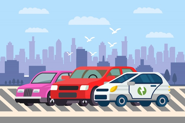 Line of cars at parking lot vector illustration