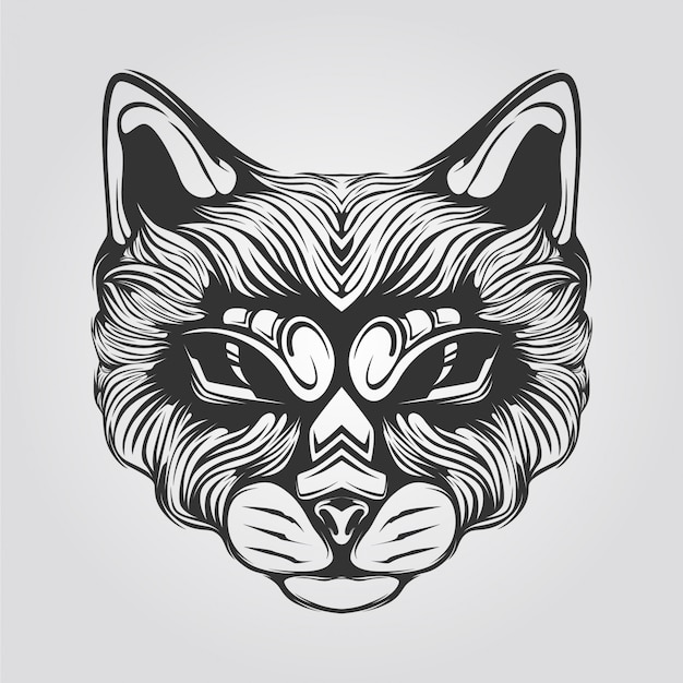 Line  of cat head with decorative eyes