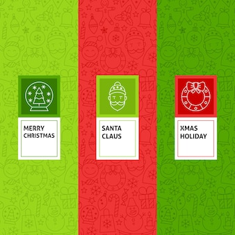 Line christmas patterns set. vector illustration of logo design. template for packaging with labels.