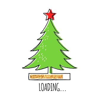 上部に赤い星と金色のローディングバーでクリスマスツリーを並べる