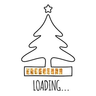 星と金色のローディングバーの連続線画スタイルのラインクリスマスツリー