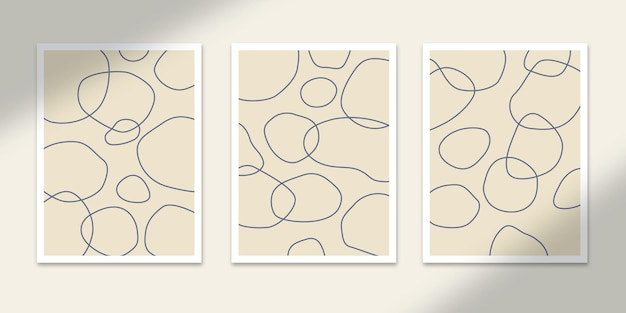 라인 서클 유체 추상 포스터 아트 손으로 그린 모양 커버 세트 컬렉션 벽 인쇄 장식
