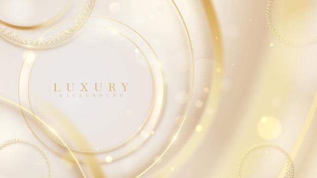 光るリング効果とぼかしスタイルのボケ要素、3dの豪華な背景、グリーティングカードのデザイン、招待状のフレーム、証明書のアイデアで輝くラインサークルゴールド。ベクトルイラスト。