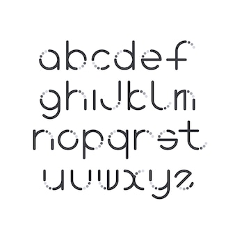Line and circle latin font, graphical decorative type.