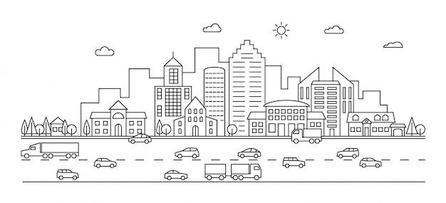 Линия город. контур городской улицы со зданиями и машинами