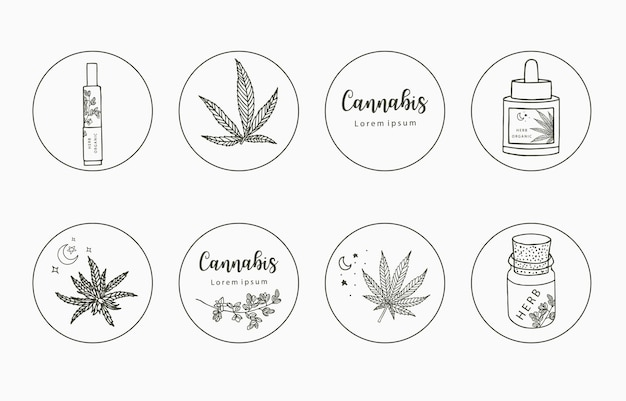 Line clipart collection with hand,  cannabis, bottle, dropper, star, circle