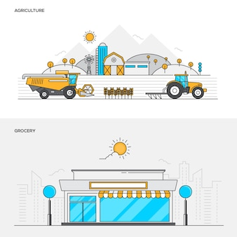 Line color concept- agriculture and grocery