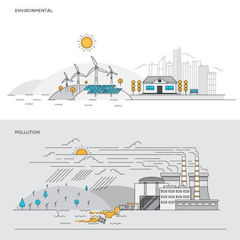 Line color concept- environmental and pollution