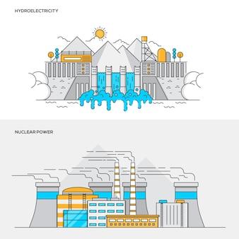 Концепция цвета линии - гидроэлектростанция и атомная электростанция