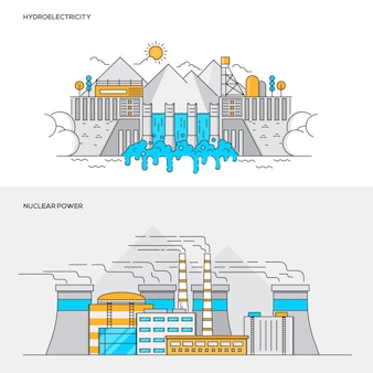 Line color concept- hyidroelectric and nuclear plant