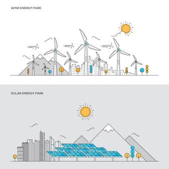 線の色の概念-風力および太陽エネルギー公園