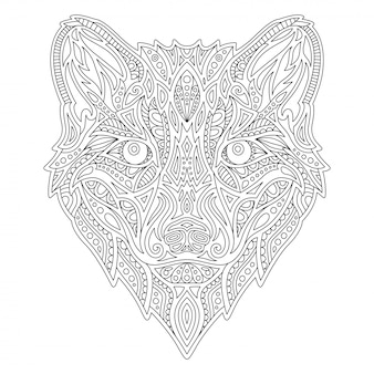 Line  coloring book with wolf head