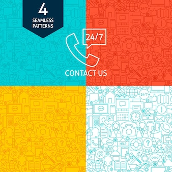Line contact us patterns. four vector website design seamless backgrounds.