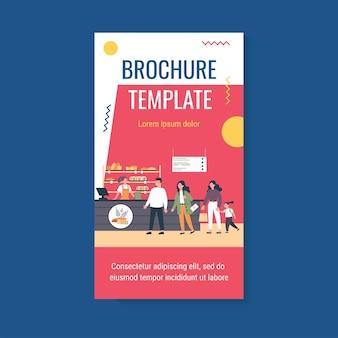 Line of customers in bread shop brochure template