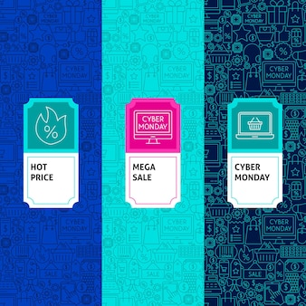 Line cyber monday package labels. vector illustration. template for packaging design.