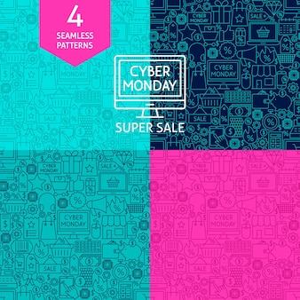 Line cyber monday patterns. four vector sale backgrounds.