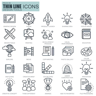 Line design tools, art and media icons