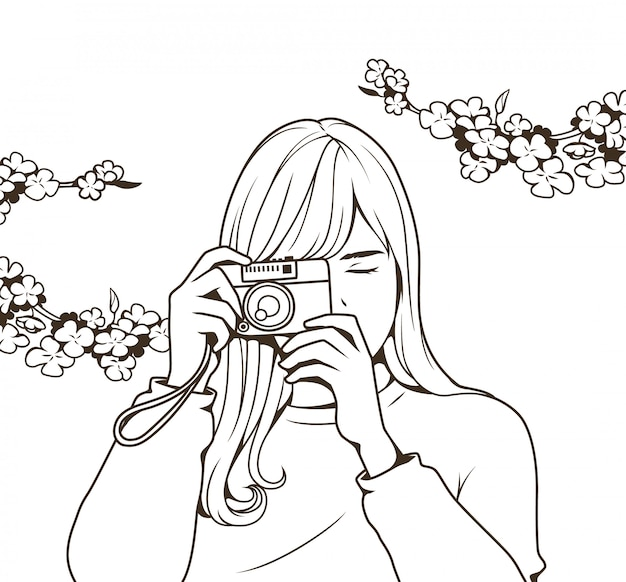 Line drawing beautiful girl holding a camera