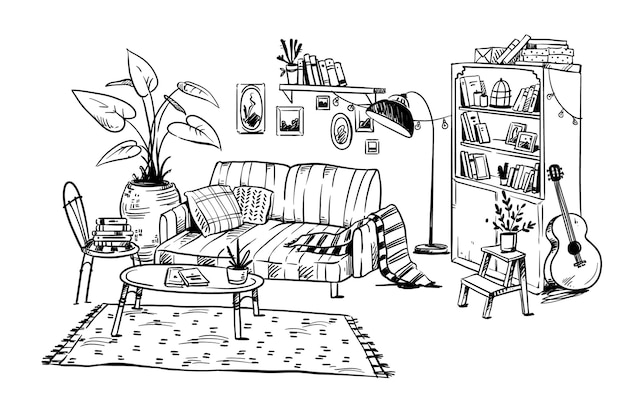 Line drawing of a cozy living room, vector hand drawn line sketch