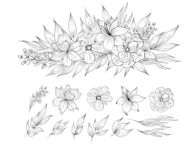 Line drawing flowers bouquet set