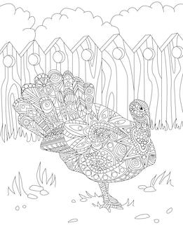 Рисование линии большой красивой птицы павлин с открытым хвостом, стоящей в одиночестве, глядя в сторону внутри забора. большой симпатичный рисунок куриного вида с невероятно вытянутым хвостом.