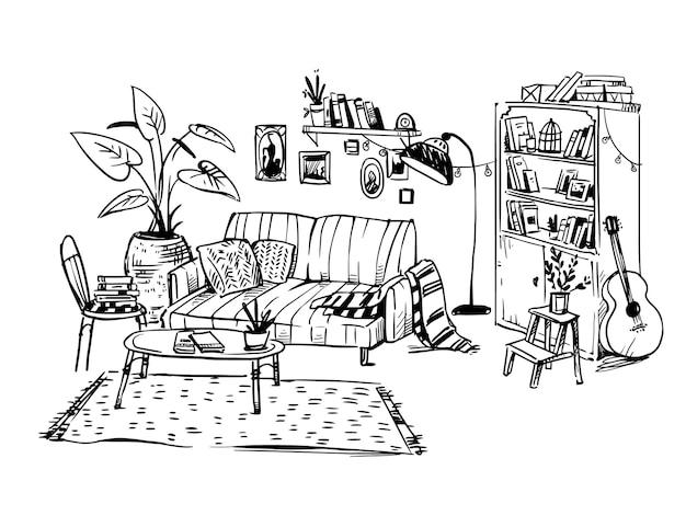 居心地の良いリビングルームの線画、ベクトル手描きスケッチ