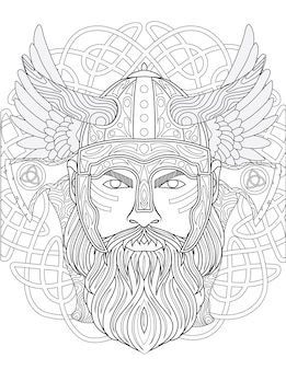 長い角と長いひげを前に見つめている装甲ヘルメットをかぶった勇敢な野蛮人の線画。バービュートを使用している戦士は、頭の後ろに翼があります。