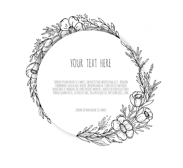 Line drawing ornate wreath, floral frame with hand drawn flowers, branches, plants, herbs.