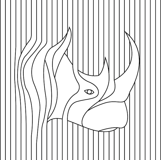 Line drawing of rhino head vector illustration