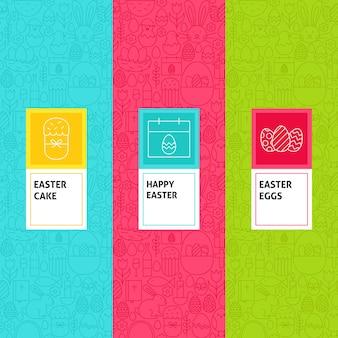 Набор шаблонов линии пасхи. векторная иллюстрация дизайна логотипа. шаблон для упаковки с этикетками.