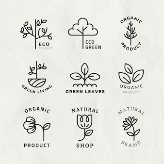 Line eco logo template  for branding with text set
