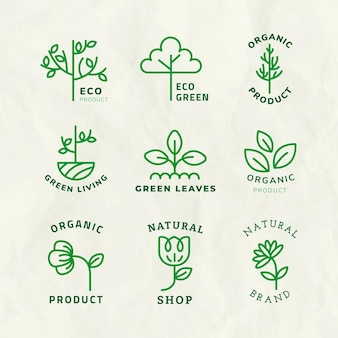 Line eco logo template vector for branding with text set