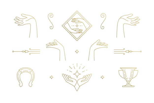 라인 우아한 장식 디자인 요소 세트-여성 제스처 손 삽화 최소한의 선형 스타일. 로고 엠블럼 및 제품 브랜딩을위한 컬렉션 보헤미안 섬세한 외곽선 그래픽