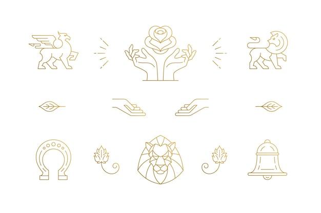라인 우아한 장식 디자인 요소 세트-사자 머리와 제스처 손 일러스트 최소한의 선형 스타일. 로고 엠블럼 및 제품 브랜딩을위한 컬렉션 보헤미안 섬세한 외곽선 그래픽