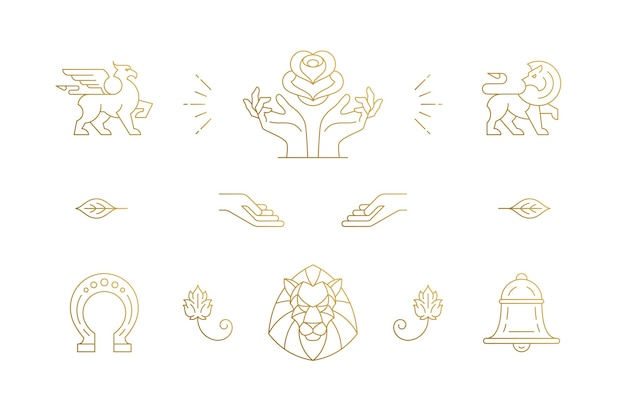 Line elegant decoration design elements set - lion head and gesture hands illustrations minimal linear style. collection bohemian delicate outline graphics for logo emblems and product branding
