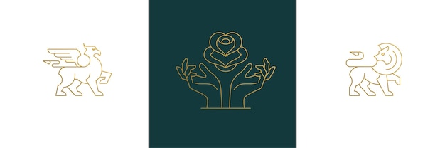 Набор элементов дизайна женского украшения - цветочные и женские жесты руки иллюстрации