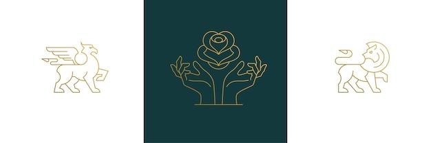 Line feminine decoration design elements set - flower and female gesture hands illustrations