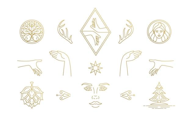 Line feminine decoration design elements set
