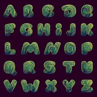 Line fingerprint english alphabet letters set.