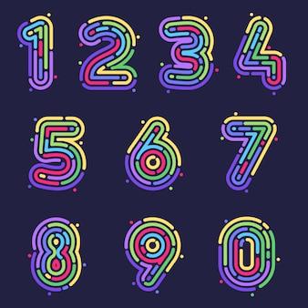 Line fingerprint numbers colorful set.