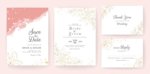 パステル水彩でセットされたライン花の結婚式の招待カードテンプレート。抽象的な背景は、日付、招待状、グリーティングカード、多目的を保存します