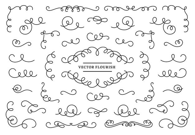 Line flourish ornament swirls Premium Vector